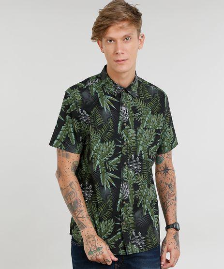 Camisa-Masculina-Estampada-de-Folhagem-com-Bolso-Manga-Curta-Preta-9367428-Preto_1