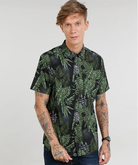 30a51f9b33 Camisa Masculina Estampada de Folhagem com Bolso Manga Curta Preta - cea