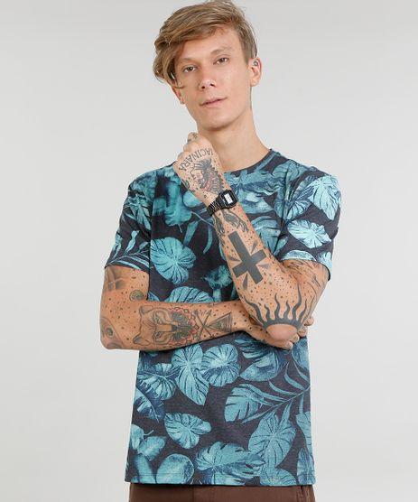 Camiseta-Masculina-Estampada-de-Folhagem-Manga-Curta-Gola-Careca-Cinza-Mescla-Escuro-9440765-Cinza_Mescla_Escuro_1