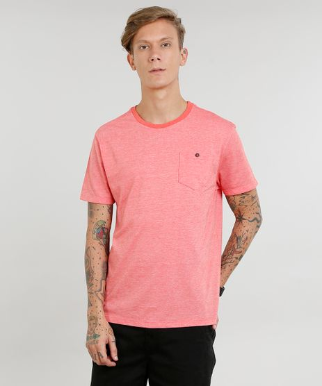 Camiseta-Masculina-com-Bolso-Manga-Curta-Gola-Careca-Coral-9440762-Coral_1