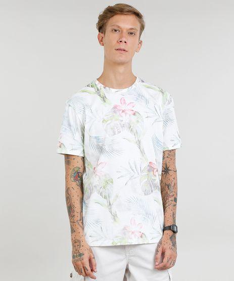 Camiseta-Masculina-Estampada-de-Folhagem-Manga-Curta-Gola-Careca-Off-White-9440766-Off_White_1