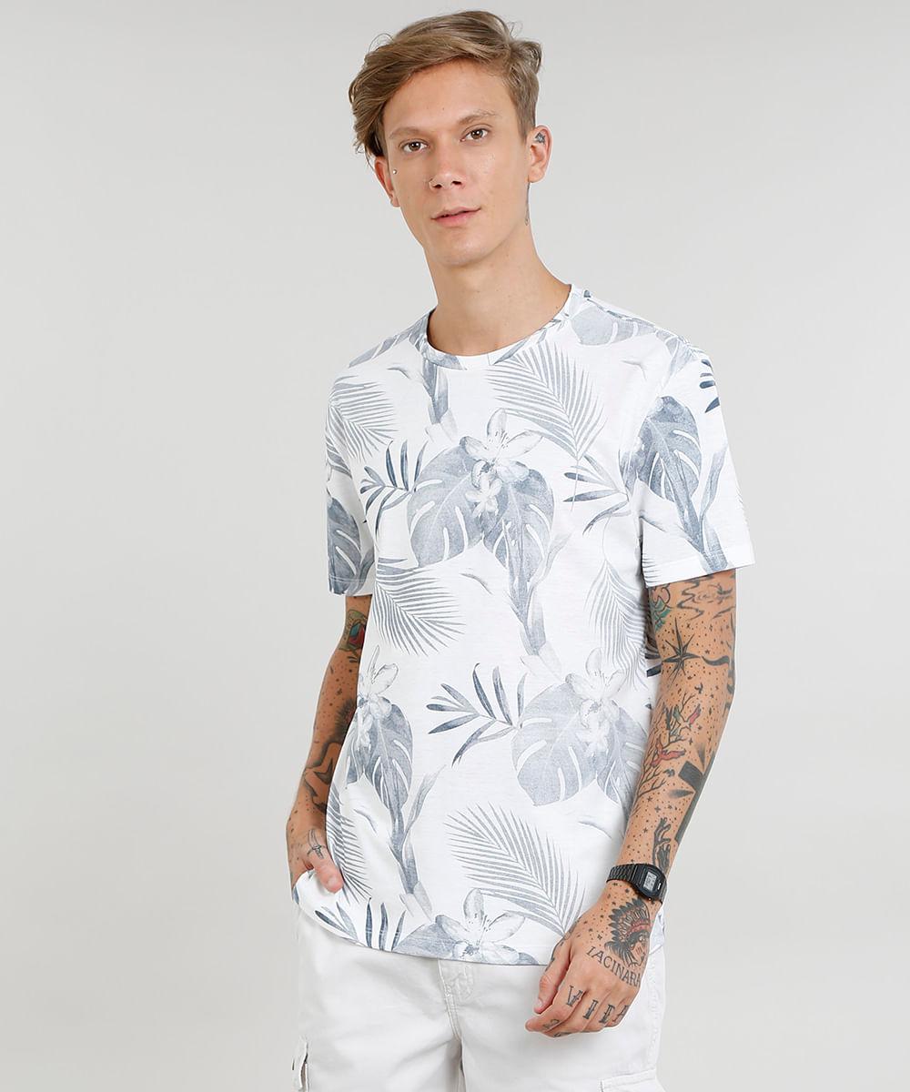 6fc256cf09b Camiseta Masculina Estampada de Folhagem Manga Curta Gola Careca Off ...