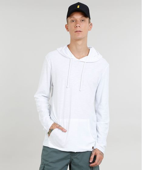 8922d01b0 Camiseta Masculina com Bolso e Capuz Manga Longa Branca - cea