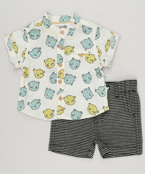 Conjunto-Infantil-Bento-de-Camisa-Estampada-de-Peixe-Manga-Curta-Off-White---Bermuda-Listrada-com-Bolsos-Preta-9164455-Preto_1