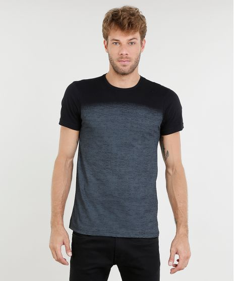 5c8a172d6c Camiseta-Masculina-Slim-Fit-com-Estampa-Degrade-Manga-