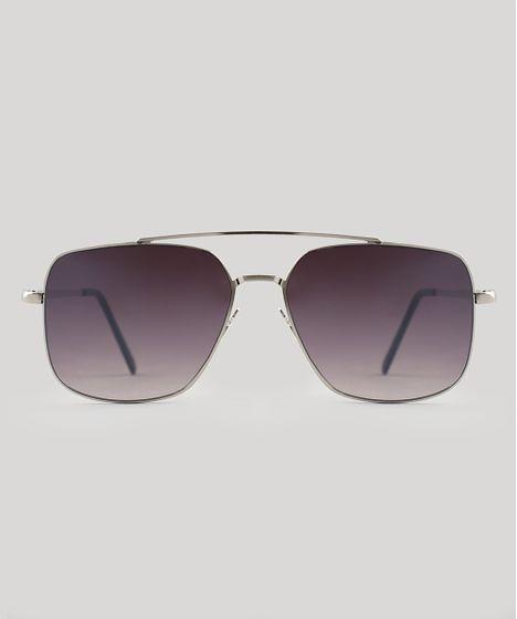 fd728c22abf1a Oculos-de-Sol-Quadrado-Masculino-Oneself-Prateado-9524194- ...