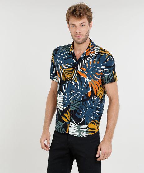 Camisa-Masculina-Estampada-de-Folhagem-Manga-Curta-Preta-9417128-Preto_1