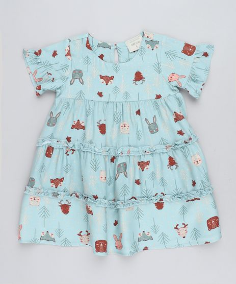 Vestido-Infantil-Estampado-de-Bichos-com-Recortes-Manga-Curta-Verde-Claro-9416797-Verde_Claro_1