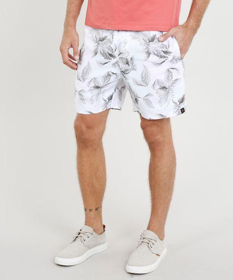 Short-Masculino-Estampado-de-Folhagem-com-Bolsos-Branco-9439738-Branco_1