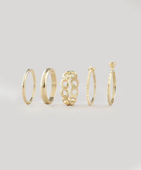 Kit-de-5-Aneis-Femininos-Dourado-9413837-Dourado_1
