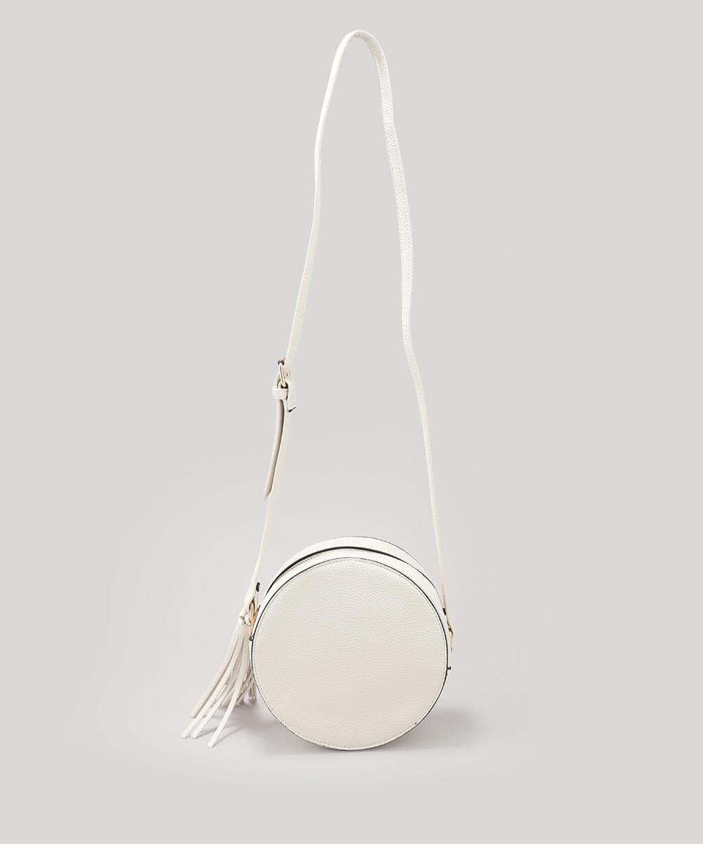 2bd29661c Bolsa Feminina Redonda Transversal com Tassel Off White - cea