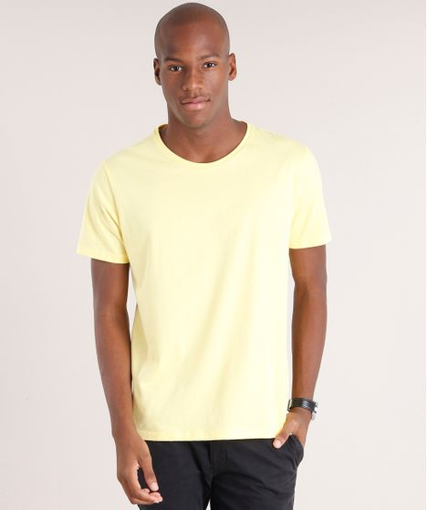 Camiseta Masculina Básica Manga Curta Gola Careca Amarelo Claro - cea facd91f3e57