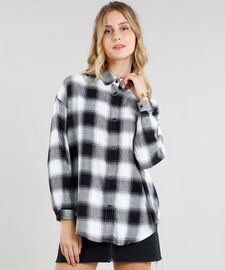 Camisa-Feminina-Oversized-em-Flanela-Estampada-Xadrez-Manga-Longa-Preta-9364274-Preto_1