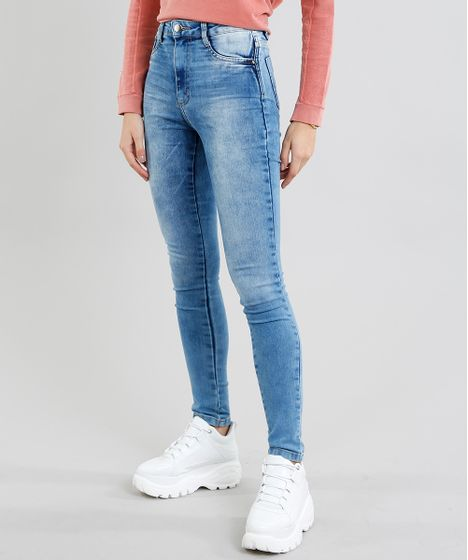 aa77f6812 Calça Jeans Feminina Sawary Super Lipo Super Skinny Azul Médio - cea
