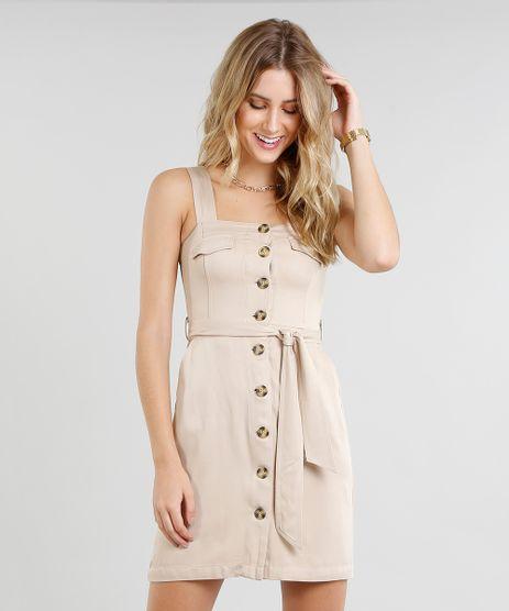 Vestido-Feminino-Curto-com-Botoes-e-Faixa-para-Amarrar-Bege-9366628-Bege_1