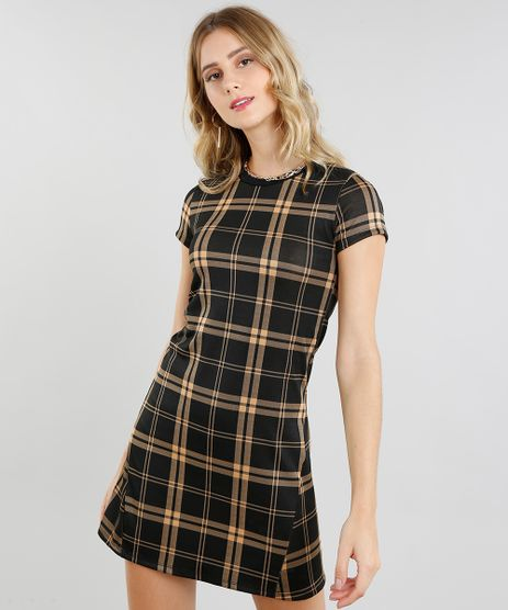 Vestido-Feminino-Curto-Estampado-Xadrez-Manga-Curta-Preto-9464745-Preto_1