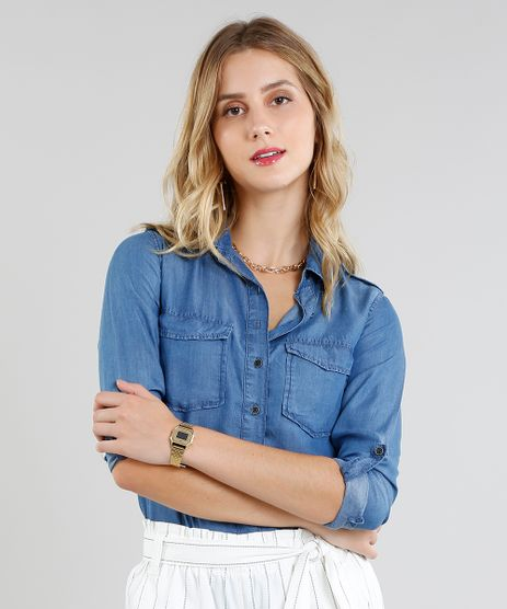 Camisa-Jeans-Feminina-com-Bolsos-e-Martingale-Manga- da5ceaab9552f