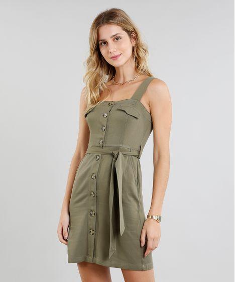 a54cf0179 Vestido Feminino Curto com Botões e Faixa para Amarrar Verde Militar ...