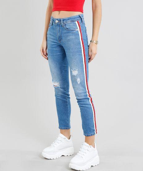 Calca-Jeans-Feminina-Skinny-com-Faixa-Lateral-Azul-Claro-9463420-Azul_Claro_1