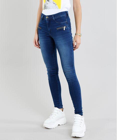 0f1f164a83 Calça Jeans Feminina Sawary Super Skinny com Recorte Azul Médio - cea
