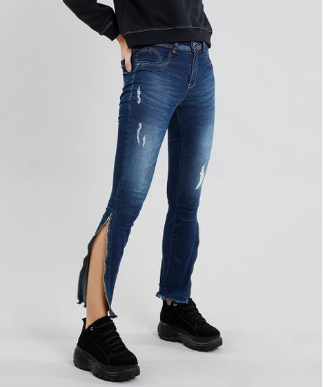 40549cf20 Calça Jeans Feminina Sawary Cigarrete com Puídos e Zíper Azul ...