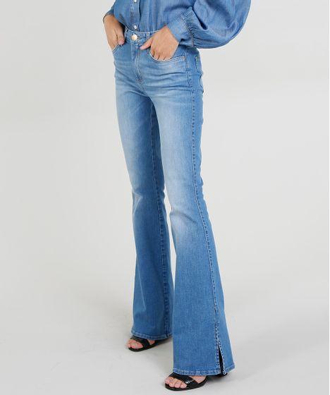 5e047069a Calça Jeans Flare Mindset com Fendas Azul Médio - cea