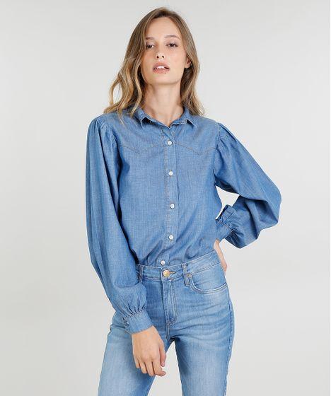 02befc0dea Camisa Jeans Feminina Mindset Western Manga Bufante Azul Médio - cea