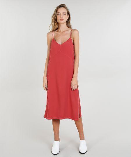 262ff9d790 Vestido Midi Feminino Mindset com Fenda Alças Finas Vermelho