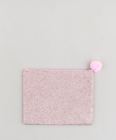 Necessaire-Feminina-em-Glitter-com-Pompom-Rosa-9472273-Rosa_1