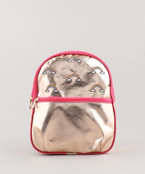 Mochila-Infantil-Metalizada-com-Bordado-de-Arco-Iris-e-Bolso-Dourada-9440428-Dourado_1