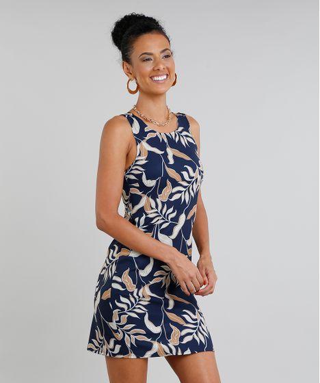 9602b515a Vestido Feminino Curto Estampado de Folhagem Decote Redondo Azul ...