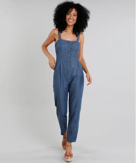 9dc5d6a9d Macacao-Jeans-Feminino-com-Botoes-Azul-Escuro-9337576- ...