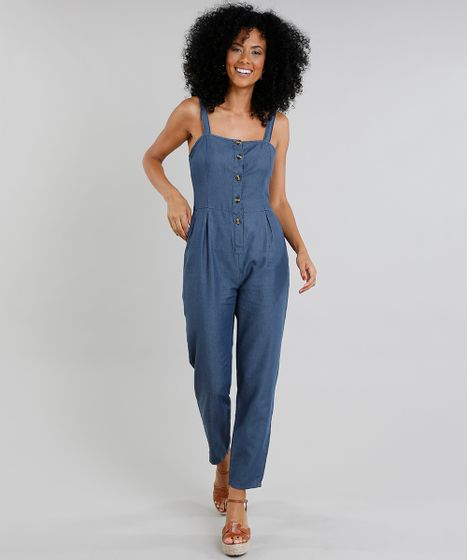 53bfde5c3b Macacao-Jeans-Feminino-com-Botoes-Azul-Escuro-9337576- ...