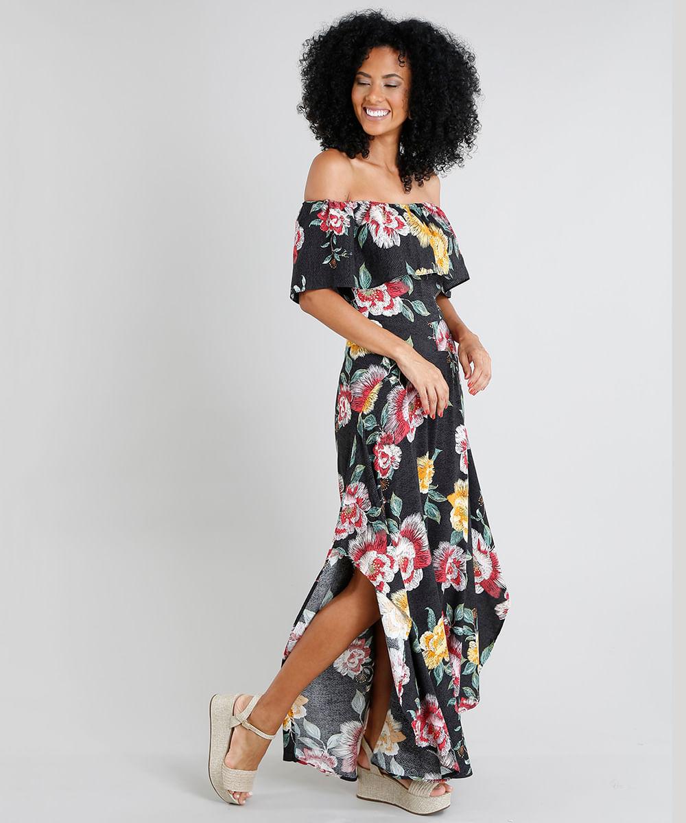 dc80620ec Vestido Feminino Longo Ciganinha Estampado Floral com Fenda Preto - cea