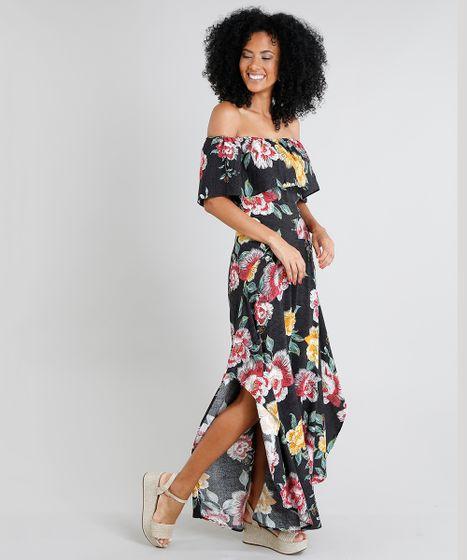 b59143cf9 Vestido Feminino Longo Ciganinha Estampado Floral com Fenda Preto - cea