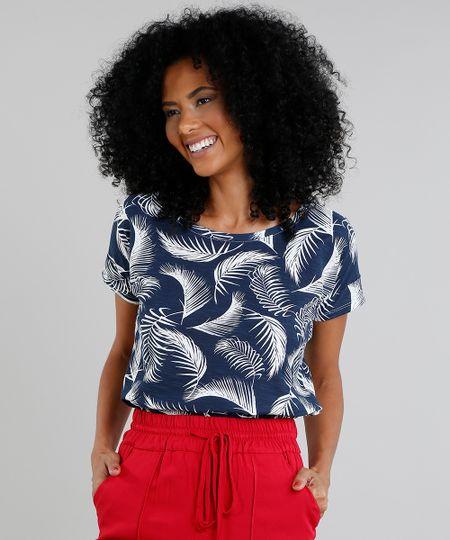 fc15ab3fa Menor preço em Blusa Feminina Estampada de Folhagem Manga Curta Decote  Redondo Azul Marinho