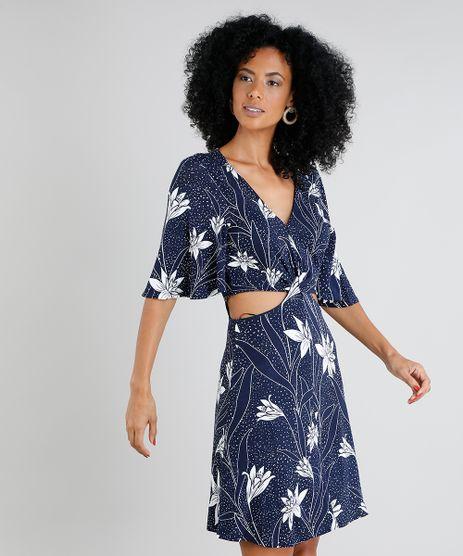 Vestido-Feminino-Curto-Estampado-Floral-com-Vazado-Manga-Curta-Azul-Marinho-9431865-Azul_Marinho_1