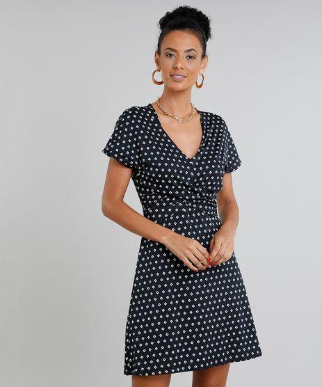 Vestido-Feminino-Curto-Estampado-Geometrico-Manga-Curta-Preto-9442630-Preto_1