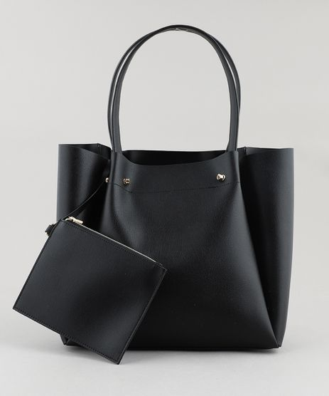 Bolsa-Feminina-Shopper-Grande-com-Piercings--Preta-9108100 98f4350f711