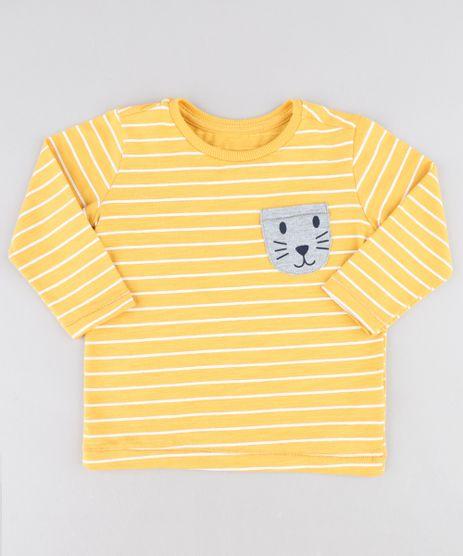 Camiseta-Infantil-Listrada-com-Bolso-Manga-Longa-Gola-Careca-Amarela-9441596-Amarelo_1