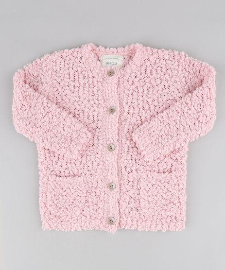 Cardigan-Infantil-com-Bolsos-em-Trico-Texturizado-Rosa-9345924-Rosa_1