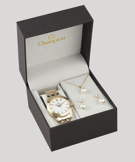 1ca03ee431f Kit de Relógio Analógico Champion Feminino + Brinco + Colar - CN25378W  Dourado - cea