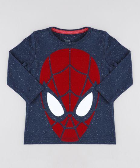 2b63133be47 Camiseta-Infantil-Homem-Aranha-Manga-Longa-Gola-Careca-