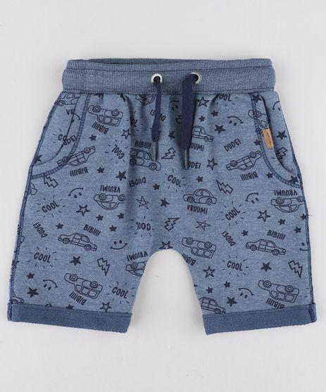 Bermuda-Infantil-Jogger-Estampada-de-Carros-em-Moletom-Azul-9428937-Azul_1