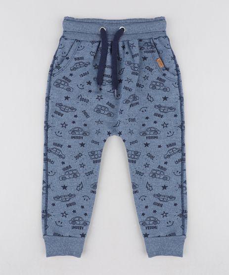 Calca-Infantil-Jogger-Estampada-de-Carros-em-Moletom-Azul-9471851-Azul_1