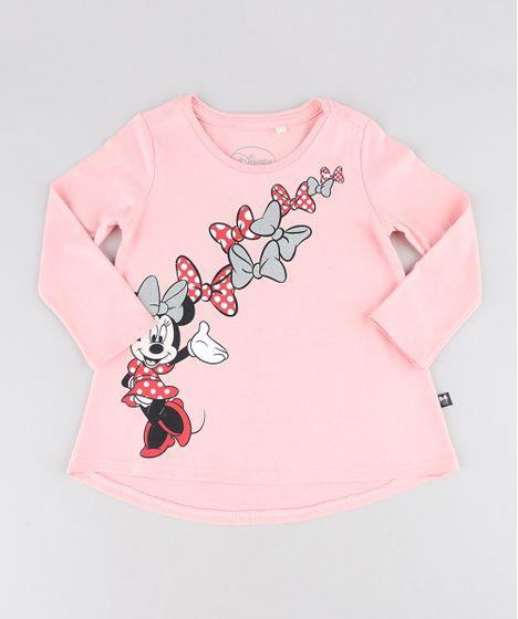 Blusa Infantil Minnie com Glitter Manga Longa Decote Redondo Rosê - cea 2cb64ccea20