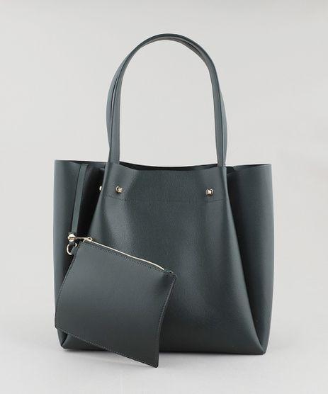 Bolsa-Feminina-Shopper-Grande-com-Piercings--Verde-Escuro-9108100-Verde_Escuro_1