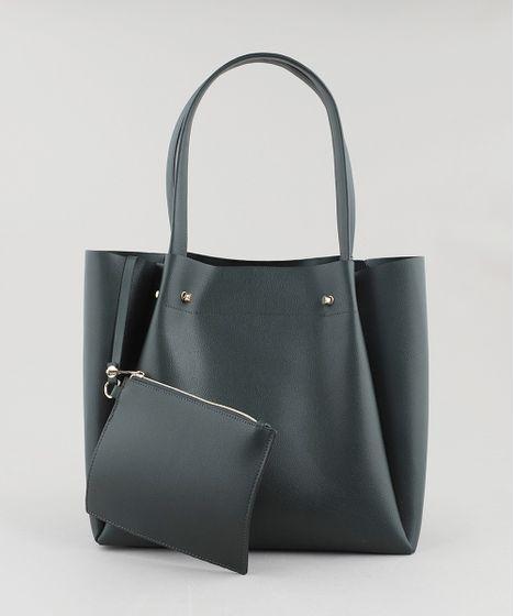 746fe2d33 Bolsa Feminina Shopper Grande com Piercings Verde Escuro - cea