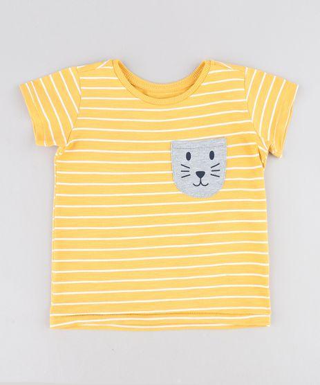 Camiseta-Infantil-Listrada-com-Bolso-Manga-Curta-Gola-Careca-Amarela-9441597-Amarelo_1