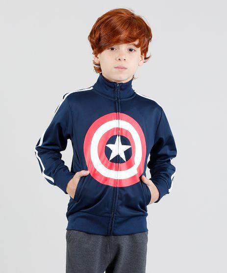 Jaqueta-Infantil-Capitao-America-Esportiva-com-Listras-Laterais-em-Moletom-Azul-Marinho-8474950-Azul_Marinho_1